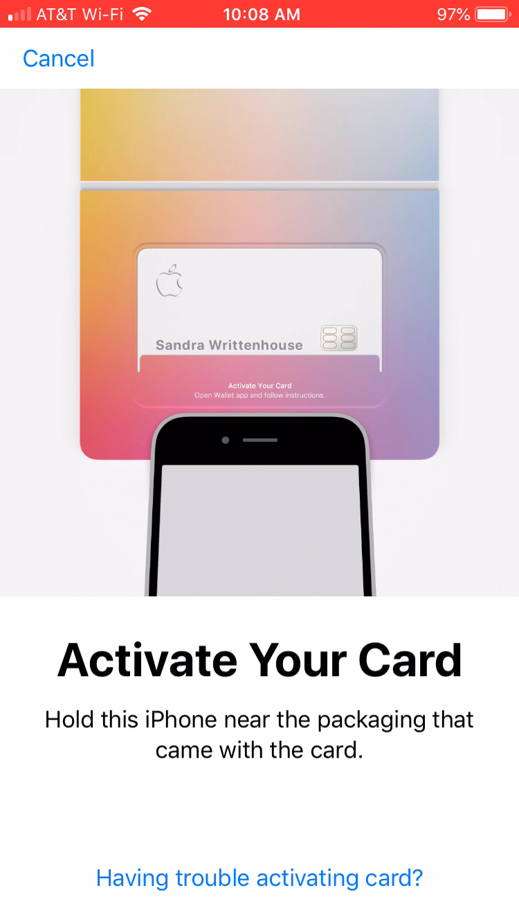 Hold iPhone Near Apple Card