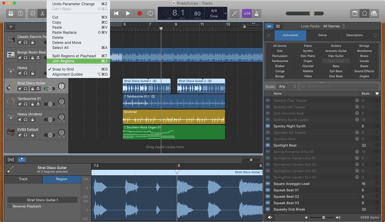 GarageBand Join Regions Mac