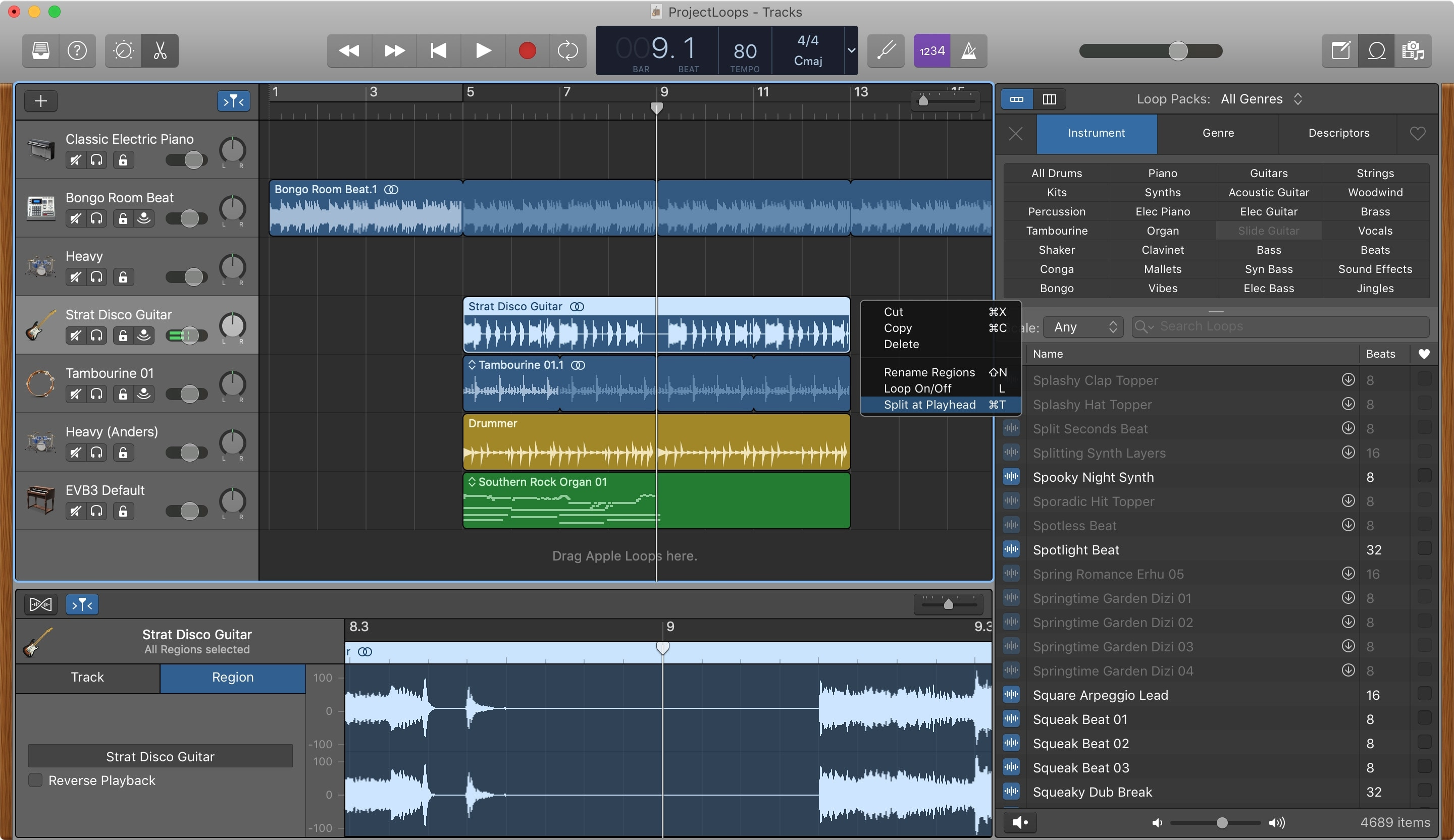 GarageBand Split at Playhead Region Mac