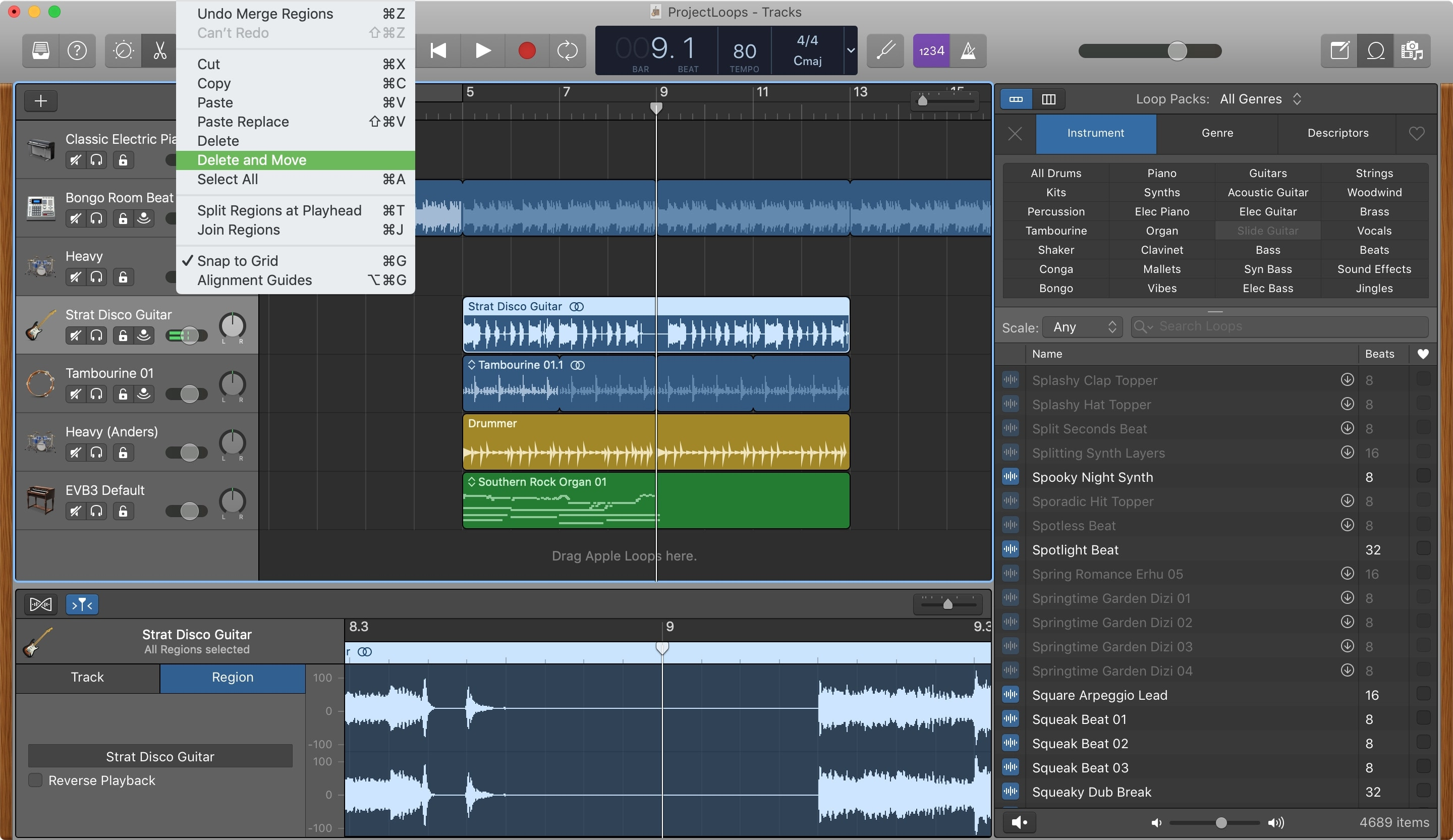 GarageBand Delete and Move Region Mac