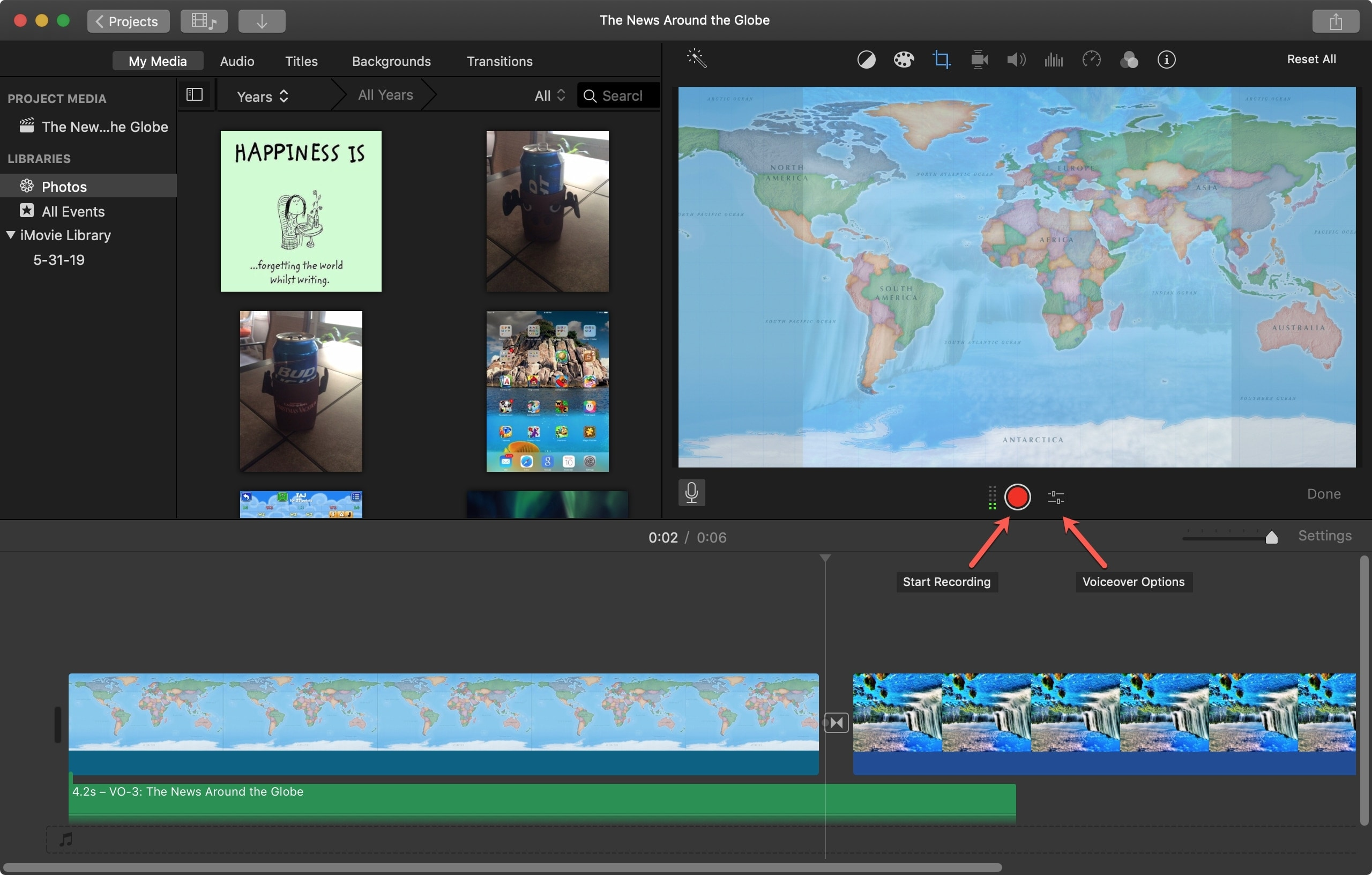 Start Recording Voiceover iMovie Mac