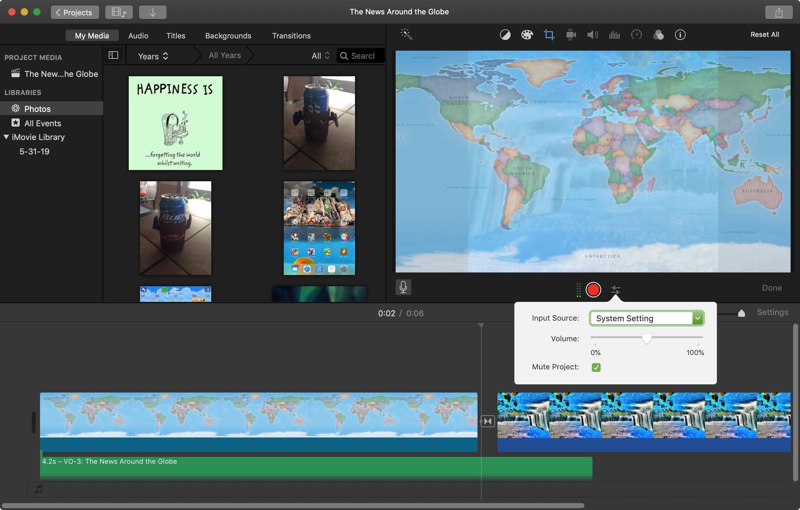 Voiceover Options iMovie Mac