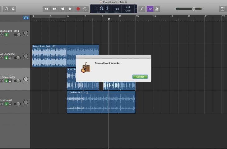 How to lock and unlock tracks in GarageBand on Mac