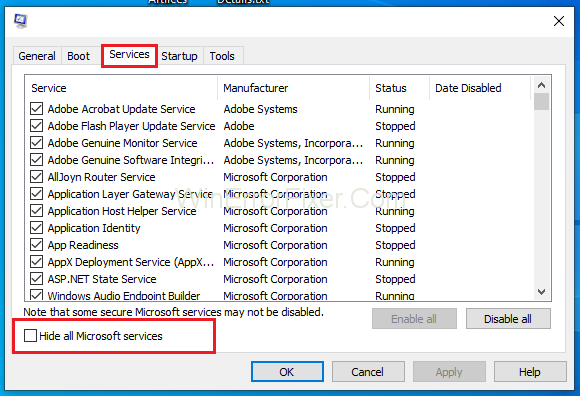 Hide all Microsoft Services to Fix Modern Setup Host Has Stopped Working