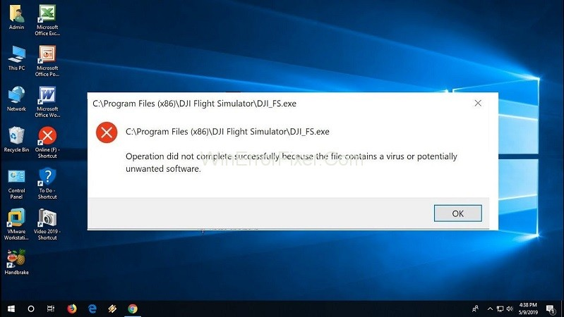 Operation Did Not Complete Successfully Because the File Contains a Virus